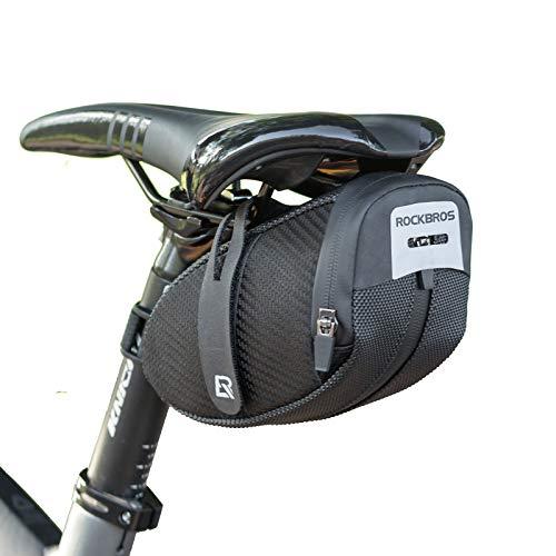 ROCKBROS Satteltaschen Fahrradtasche für Rennrad, MTB mit Rücklichthalter Leicht Fahrradsitztasche Schwarz