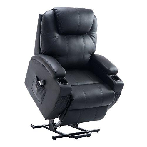HOMCOM Fauteuil releveur électrique de Relaxation avec télécommande Noir