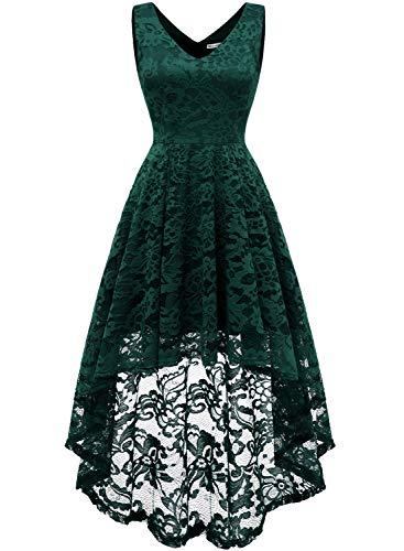 MuaDress 6666 Damen Kleid Ärmellose Cocktailkleider Knielang Abendkleider Elegant Spitzenkleid V-Ausschnitt Asymmetrisches Brautjungfernkleid Grün S