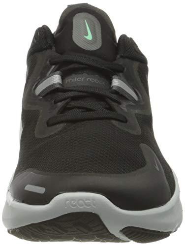 Nike React Miler, Running Shoe Hombre, Black/Black-Iron Grey-Green Glow-Chile Red-Photon Dust, 41 EU