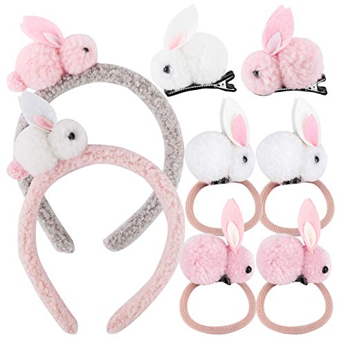 UFLF 2pcs Diadema Conejo+2pcs Pinzas Conejo+4pcs Anillos Conejo Accesorios Conejito para Peinado Cabello de Chica Niñas