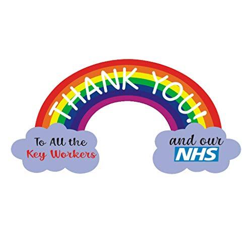 JHD Vielen Dank, DASS Sie NHS Aufkleber Regenbogen wasserdichte Vinyl Zeichen Fenster Auto Van Shop PVC Aufkleber Home Decoration