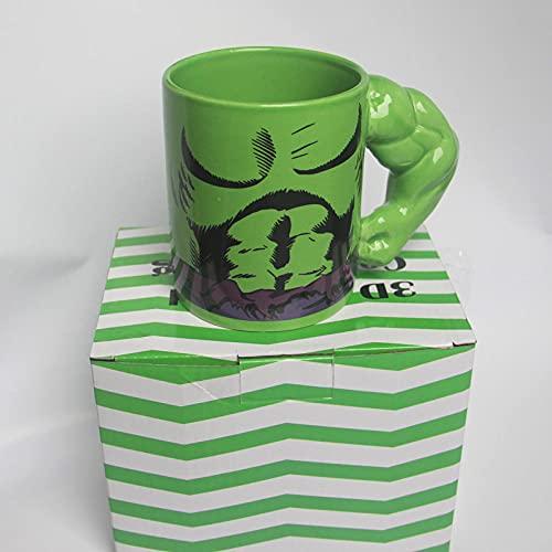 Taza De Cerámica Creativa Taza De Película Popular Taza De Anime Hombres Musculosos con Mango De Porcelana Taza De Agua Taza De Café Amigo Regalo Hulk