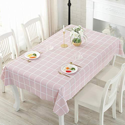 Dthlay PVC tafelkleden rechthoek gemakkelijk schoon koffie tafelkleed milieubescherming tafelkleed licht roze