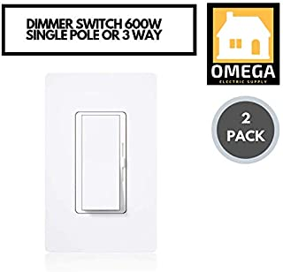 Omega | (2 Pack) Dimmer Switch for Dimmable LED, Halogen and Incandescent Bulbs, Single-Pole or 3-Way, 600 Watts with Free Screwless Wallplates