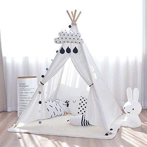 Carpa Infantil Tipi los niños juegan Carpa de Lona de algodón Juego Casa Interior y Exterior Playhouse Toy para Juegos de Interior y Exterior (Color : White, Size : 120x120x160cm)