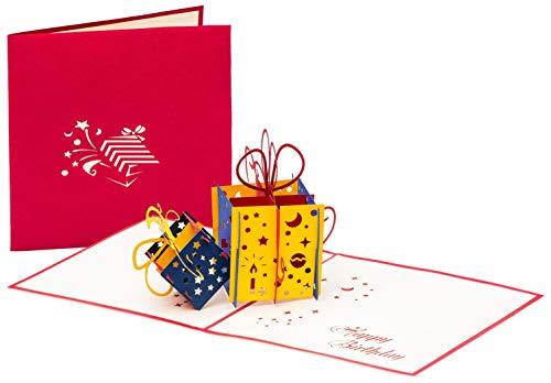 3D Geburtstagskarte – 2 bunte Geschenke – Pop up Karte, Glückwunschkarte Geburtstag, Grußkarte, Geschenkkarte als Gutschein oder für Geldgeschenk, Happy Birthday Card, Geburtstagskarten - 3