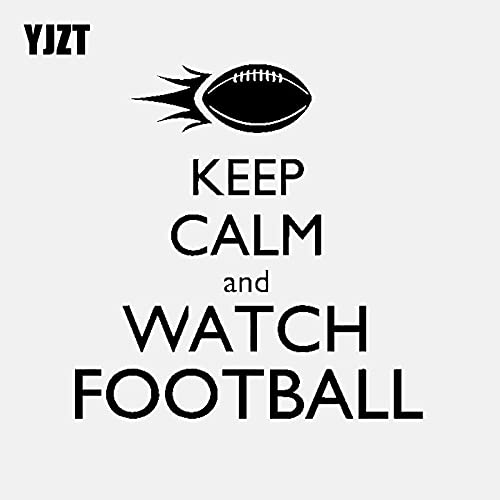 JYIP 13.5CM * 13.8CM Keep Calm und Watch American Football Sport Vinyl Aufkleber Autoaufkleber Schwarz/Silber C3-1708 Silber