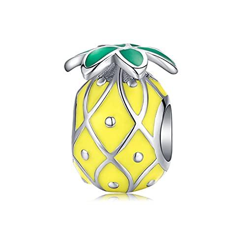 Mujeres 100% Plata De Ley 925 Serie De Verano Encantos Piña Plátano Limón Fruta Colgante Charm Fit Pulsera Cuentas DIY Fabricación De Joyas D2
