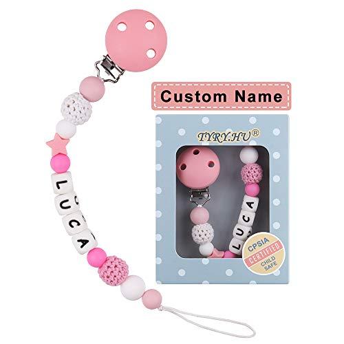 Catenella Portaciuccio con Nome Personalizzata Bambine Ragazzi Silicone Catenella Ciuccio Clip BPA Free (Rosa)