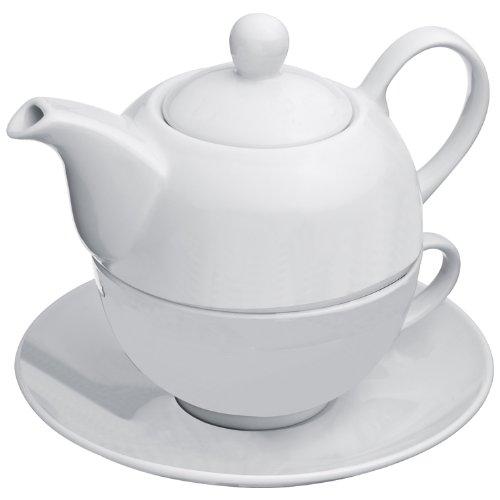 Teekanne mit einer Tasse und Untersetzer, Farbe: weiss