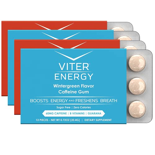 Viter Energy Caffeinated Gum - 2 Flavor Variety Pack. 60mg Caffeine, B Vitamins, Guarana, Sugar Free Vegan Chewing Gum. Zero Calories. Performance Nootropic Chews for Powerful Energizing Focused Boost