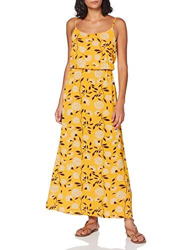 ONLY Damen Onlnova LUX S/L Maxi Dress AOP WVN 10 Kleid, Golden Yellow, 36