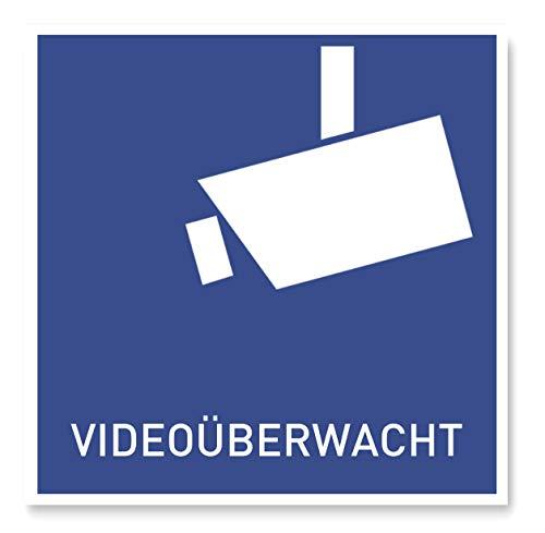 11 x Aufkleber Videoüberwachung DSGVO (10 x 10 cm) - DIN Sticker als vorgelagerter Warnhinweis - Achtung Videoüberwachung - Rückseite geschlitzt (Blau)