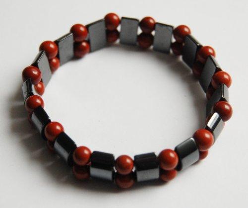 Magnet-Armband Edelstein Hämatit mit rotem Jaspis