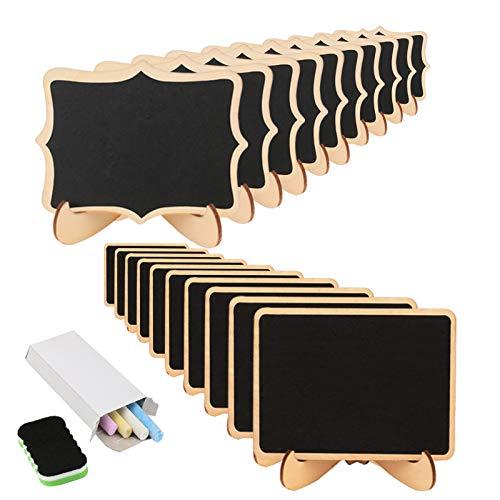 KAKOO 20 Mini Lavagne in Legno con Il Basamento Lavagna per i segni di posti Numero di Tavolo Etichette per i Regali e dei Prezzi Matrimoni segna di Posto
