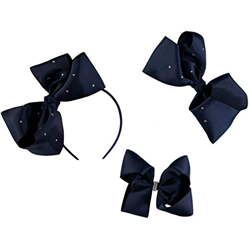 French Toast Kid's School Uniform Bow Hair Clips and Headband, 3-pack, Navy Blue & White, One Size