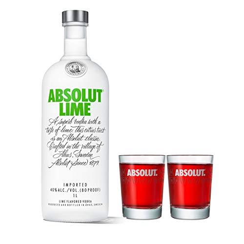 Absolut Vodka Lime Set mit 2 Shot Gläsern, Wodka mit Limettengeschmack, Schnaps, Spirituose, Alkohol, Flasche, 40 %, 1 L