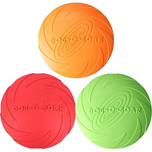 ZHOUHON 3 Stück fliegende Scheibe Hundespielzeug aus Gummi, für interaktiven Spaß im Freien, perfekt für Hundetraining, Werfen, Fangen und Spielen