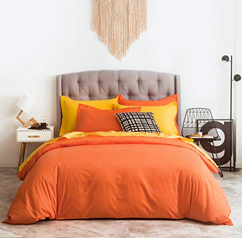 SUSYBAO 3 Pieces Duvet Cover Set 100% Natural Cotton King Size 1 Duvet Cover 2 Pillow Shams Vibrant Orange Hotel Quality Ultra Soft Breathable Lightweight Fade Resistant Solid Bedding with Zipper Ties