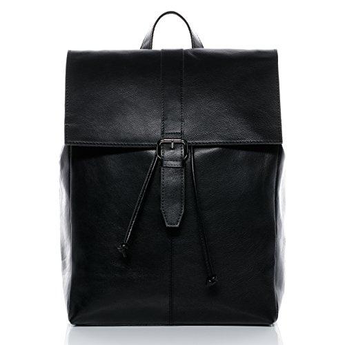 BACCINI Sac à Dos Cuir véritable 15 Pouces Lisa Sacs portés Dos Grand - Femme Backpack Ville Voyage Scolaire Noir