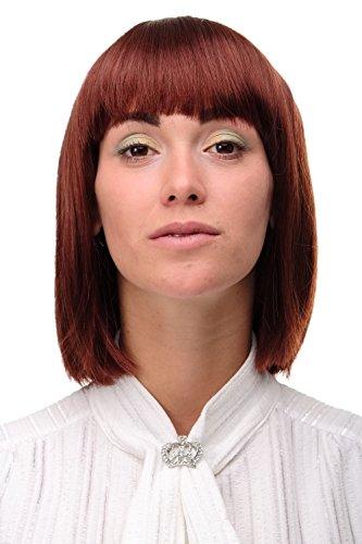WIG ME UP ® - Perruque sexy carré brun rouille lisse femme 25 cm 7803-35