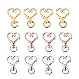 Exceart Lot de 30 porte-clés avec fermoir à griffes en forme de cœur pour porte-clés, porte-clés et crochets pour sac à clés, fabrication de bijoux (argent, doré, or rose)