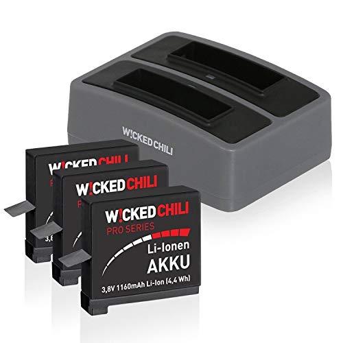 Wicked Chili 5in1 Set geeignet für GoPro Hero4 Black/Silver (Music, Surf, Outdoor Edition) - Mini Dual Ladegerät + 3X Pro Series Akku 1160 mAh (ersetzt AHDBT-401) + microUSB Ladekabel