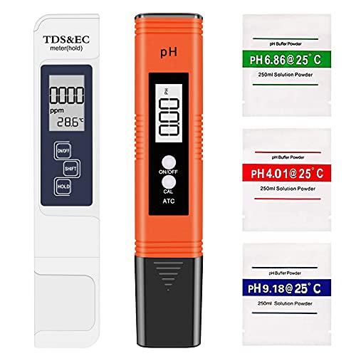Eletorot Medidor pH, Medidor de TDS EC Temperatura pH 4 en 1, Medidor de Digital...