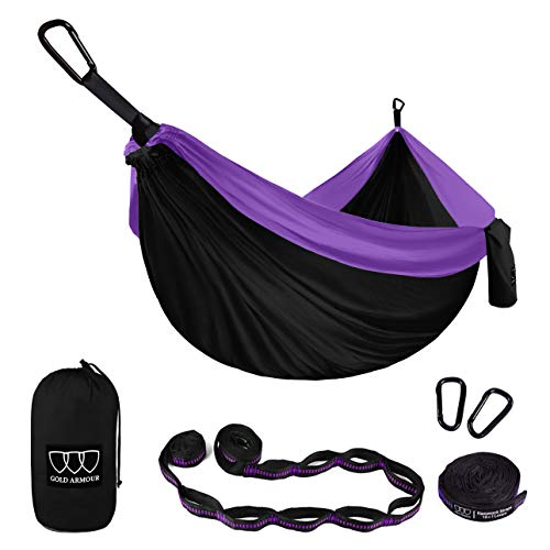 Gold Armour Camping Hammock - Extra Large Double Parachute Hammock (2 Tree Straps 32 Loops, 29...