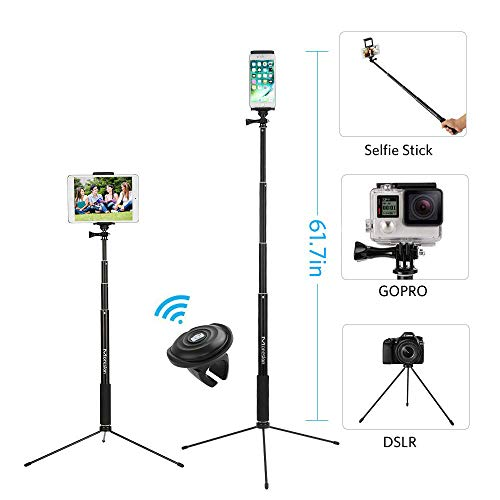 "61"" Selfie Stick Tripod, Moreslan Bluetooth Selfie Stick with Tripod Stand and Remote, Phone Tripod Extendable Monopod Compatible for iPhone X 8 Plus 7 Plus 6S iPad Samsung Galaxy Phone DSLR Cameras"
