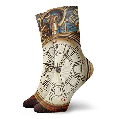Reloj de bolsillo vintage antiguo para hombre y mujer, calcetines de caminata, ligeros, frescos, cómodos, adecuados para todas las actividades en todas las condiciones meteorológicas