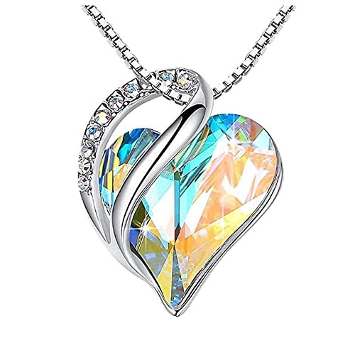 haoricu Love Heart Pendant Necklace with Birthstone Crystals, Jewelry Gifts for Women Birthday/Anniversary Day/Party