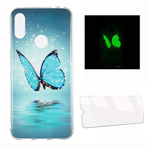 HYMY Cover per Samsung Galaxy A40 Luminous Custodia + Vetro Temperato - Adorabile Morbida Silicone TPU Case Protettivo Copertura per Samsung Galaxy A40 (5.9') -XS42