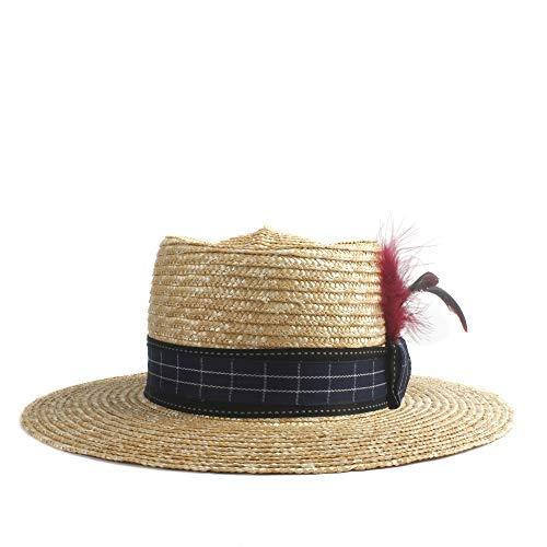 Elegante Gentleman Sun Hat Straw Heren Riethoed Zomer Drie Rode Veer Decoratie Platte Korte Vleugel Panama Jazz Zonnebrandcrème Beach Hoed Dames zonnehoed Verkoop hoed