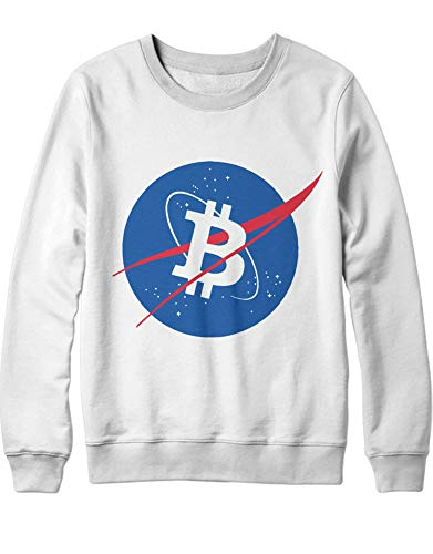 HYPSHRT Herren Sweatshirt Cryptocurrency Bitcoin NASA Style H000027 Weiß M