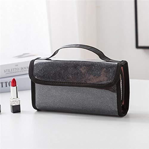 WYCYZJ Lady Cosmetic Bag PVC Dust-Proof Makeup Brush Case Waterproof Travel Cosmetics Brush Organizer,Black