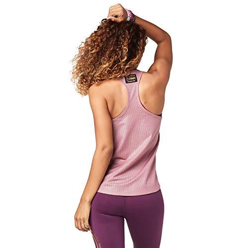Zumba Camiseta de Entrenamiento Transpirable con Sexy Espalda Abierta para Mujer X-Pequeña Fading Rose