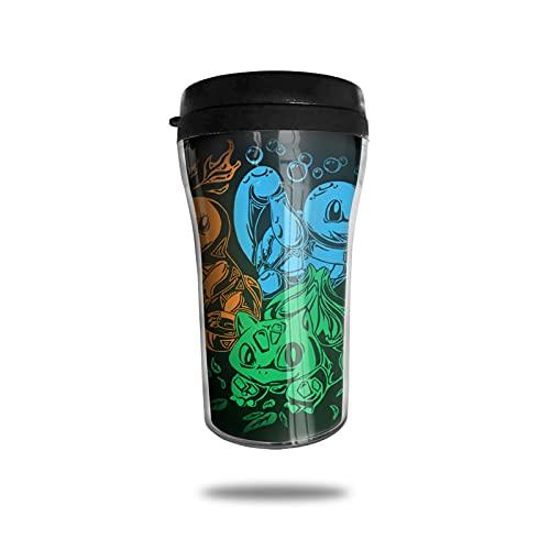 Charmander Bulbasaur Squirtle Taza de café con aislamiento al vacío, taza termo de doble pared, taza de viaje para bebidas de vidrio de viaje de trabajo de moda conveniencia