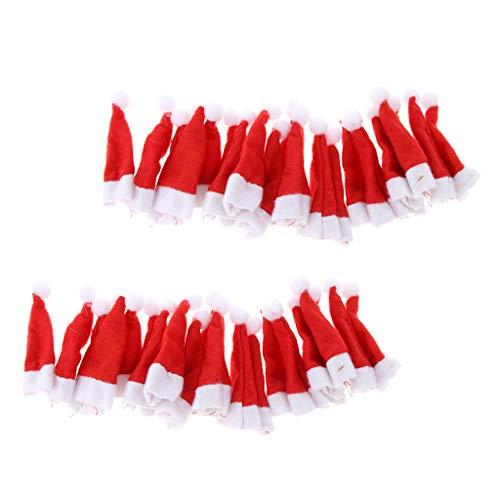 yotijar 40 Piezas Rojo Pequeño Lollipop Santa Claus Sombreros Gorra Decoración de Fiesta de Navidad