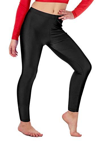 Re Tech UK - Mädchen Leggings - für Gymnastik, Tanzen & Ballett - glänzend - elastisch - Schwarz - 9-10 Jahre