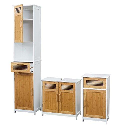 Mendler Badezimmerset HWC-A85, Hochschrank Waschbeckenunterschank Kommode Bambus, weiß