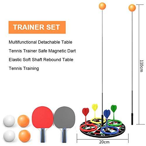 D.ragon - Allenatore da Ping Pong 3 in 1 e Set di Freccette e Anelli Multifunzione con 2 Pallet da Tennis da Tavolo e 6 Palline da Ping Pong e 1 Vassoio di Freccette Magnetico Efficace