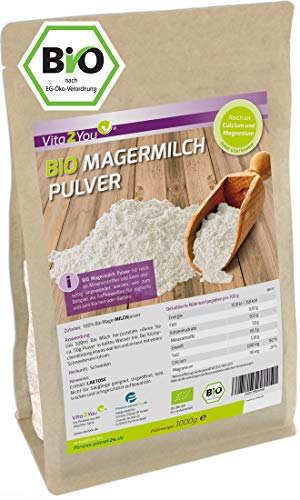 Bio Magermilchpulver 1000g - 100% Bio Qualität - zum Backen - Kaffeeweißer - für Joghurts - 1kg - Premium Qualität