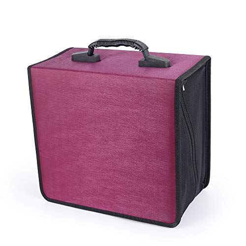 Siveit 400 Capacity CD/DVD Case Wallet VCD Storage Holder Booklet Album Box Binder(Rose)