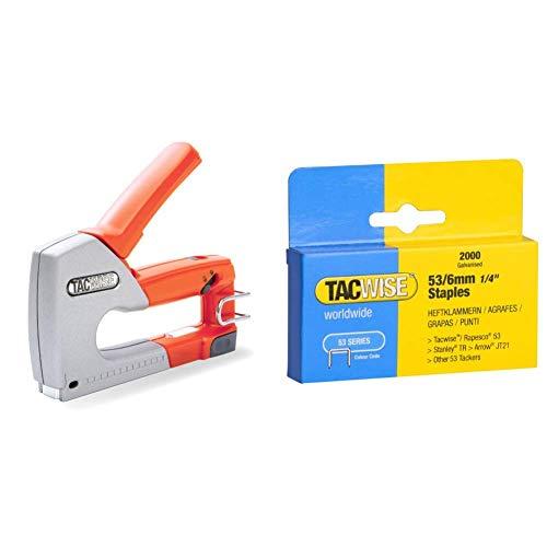 Tacwise 0856 Grapadora Metálica Manual Z1-53, Naranja + Grapas - Caja de 2000 Grapas Galvanizadas 53/6Mm