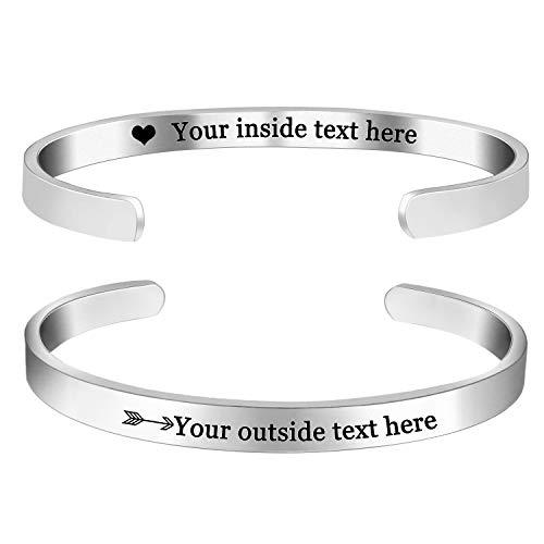Amlion Personalized Bracelets for Women Mom,Engraved Custom Bracelets Cuff Inspirational Personalized Gifts for Women Girls-Double Side Engraved