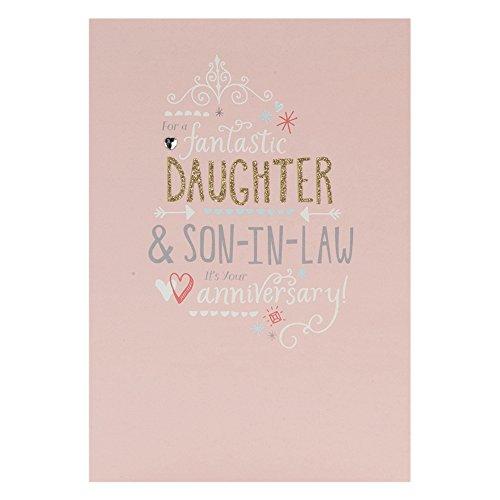 Hallmark Anniversary Daughter and Son in Law Contemporary Glittered Card - Medium