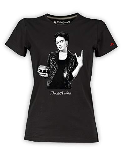 Camiseta de mujer – Frida Kahlo oficial estilo Rock Negro S