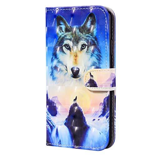 CRABOT Compatibile con Samsung Galaxy A10E(A20E),Flip Cover,Anti-goccia,Motivo Animali 3D,Custodia Protettiva in Pelle PU +1*Protezione Schermo Gratuita (Lupo Delle Nevi)